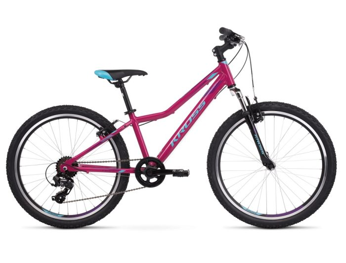 """Kross Lea JR 1.0 juniorpyörä 24""""on suosittu tyttöjen polkupyörä 24"""" rengaskoolla, minkä tukeva rakenne, hyvä ajettavuus ja ihanat värit ovat nuorten ajajien mieleen."""